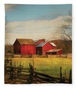 Farm - Barn - Just Up The Path Fleece Blanket