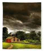Farm - Barn - Storms A Comin Fleece Blanket