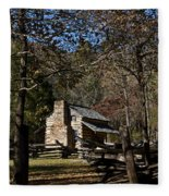 Farm Cabin Cades Cove Tennessee Fleece Blanket