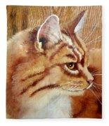 Farm Cat On Rustic Wood Fleece Blanket