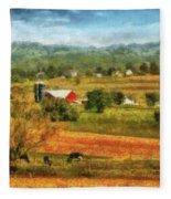 Farm - Cow - Cows Grazing Fleece Blanket
