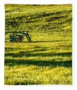 Farm Equipment In A Field Fleece Blanket