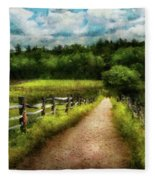 Farm - Fence - Every Journey Starts With A Path  Fleece Blanket