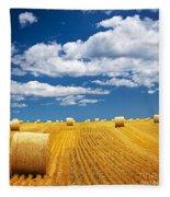 Farm Field With Hay Bales Fleece Blanket