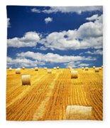 Farm Field With Hay Bales In Saskatchewan Fleece Blanket