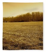 Farm Field With Old Barn In Sepia Fleece Blanket