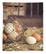 Farm Fresh Eggs Fleece Blanket