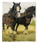 Farm Horses Fleece Blanket