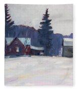 Farm In The Snow Fleece Blanket