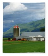 Farm In The Valley Fleece Blanket