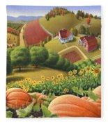 Farm Landscape - Autumn Rural Country Pumpkins Folk Art - Appalachian Americana - Fall Pumpkin Patch Fleece Blanket