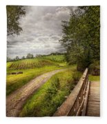 Farm - Landscape - Jersey Crops Fleece Blanket