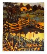 Farm Pond Reflections Fleece Blanket