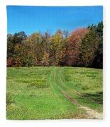 Farm Road In Autumn Fleece Blanket