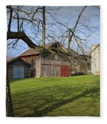 Farm Scene With Barns And Silo Fleece Blanket