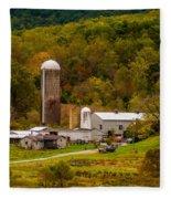 Farm View With Mountains Landscape Fleece Blanket