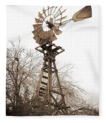 Farm Windmill In Sepia Fleece Blanket
