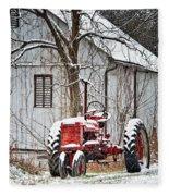 Farmall Tractor In Winter Fleece Blanket