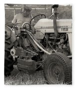Farmer And His Tractor Fleece Blanket