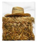 Farmer Hat On Hay Bale Fleece Blanket