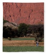 Farmer In Field In Northern Argentina Fleece Blanket