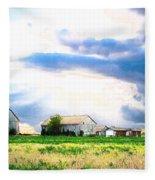 Farmer's Field At Sundown Fleece Blanket
