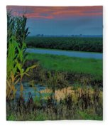 Farm Sunset Fleece Blanket