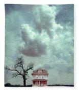 Farmhouse And Tree Fleece Blanket