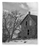 Farmhouse Black And White Fleece Blanket
