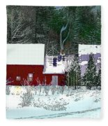 Farmhouse In Winter Fleece Blanket