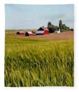Farmlands Near Davenport Fleece Blanket