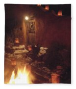 Farolitos And Luminaria Near Door Fleece Blanket