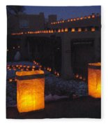 Farolitos Or Luminaria On Wall Fleece Blanket