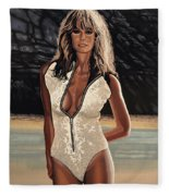 Farrah Fawcett Painting Fleece Blanket