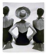 Fashion Models In Swim Suits, 1950 Fleece Blanket