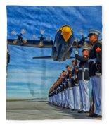 Fat Albert Over The Usmc Silent Drill Team Fleece Blanket