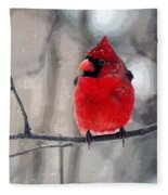 Fat Cardinal In The Snow Fleece Blanket