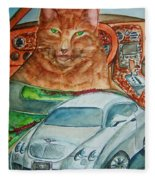 Fat Cat And The Bentley Fleece Blanket