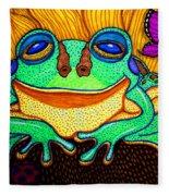 Fat Green Frog On A Sunflower Fleece Blanket