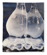 Fat Twin Icicles Over Water Surface Fleece Blanket