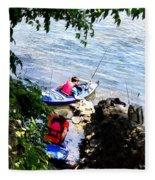 Father And Son Launching Kayaks Fleece Blanket