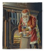 Father Christmas Filling Children's Stockings Fleece Blanket