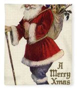 Father Christmas With A Bag Of Toys Fleece Blanket