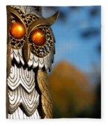Faux Owl With Golden Eyes Fleece Blanket