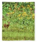 Fawn In Flowers Fleece Blanket