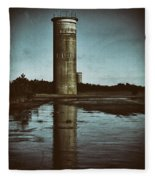 Fct3 Fire Control Tower Reflections In Sepia Fleece Blanket