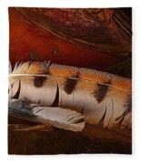 Feather And Leather Fleece Blanket