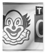 Feed The Clown In Black And White Fleece Blanket
