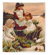 Feeding Ducks Fleece Blanket
