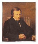 Felicite Robert De Lamennais, 1845 Oil On Canvas Fleece Blanket
